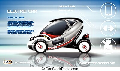 Clip Art Vector Of Electric And Hybrid Cars Infographic Poster