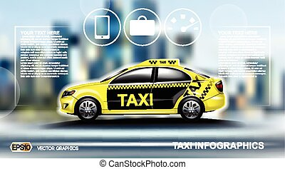 Realistic Taxi car Infographic. Urban city background....