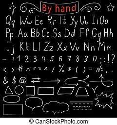 Handwritten letters, number, characters, shapes. English...