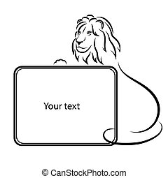 Design elements. Lion silhouette on a white background. Isolated. Square frame for the text. Vector illustration.