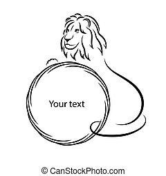 Design elements. Lion silhouette on a white background. Isolated. Round frame for the text. Vector illustration.