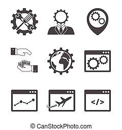 Internet marketing icons on white background