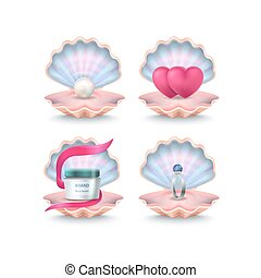 Shells with Face Cream, Pink Hearts, Wedding Ring - Open...