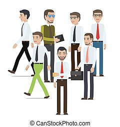 Businessmen Standing Full Length Portrait on White -...