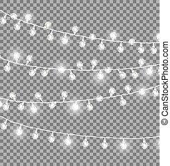 Garlands with Round Bulbs on Dark Background. - Garlands...