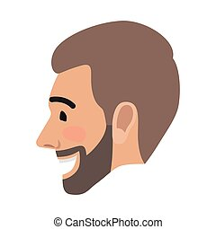 Emotion Avatar Man Happy Successful Face. Vector - Emotion...