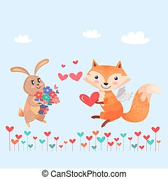 Bunny with Bouquet of Flowers and Fox with Wings - Bunny...