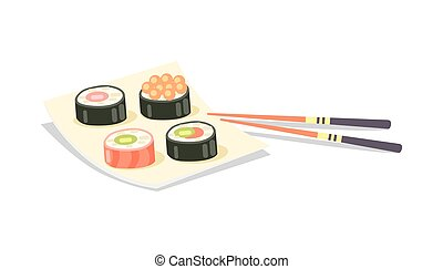 Sushi Set and Chopsticks near on White Background