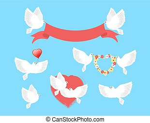 White Pigeons Holding Red Ribbon, Flower Wreath