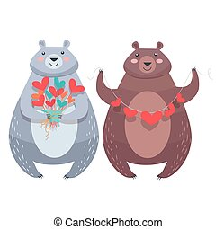Valentine Bears with Necklace of Hearts, Flowers - Bear with...
