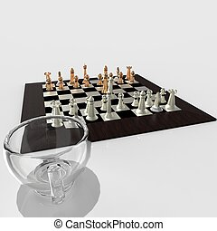 cup of coffee and chess 3d rendering - cup of coffee and...