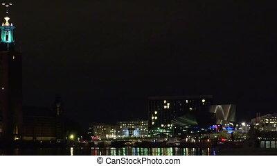 City Hall in Stockholm. Sweden. Night, lights