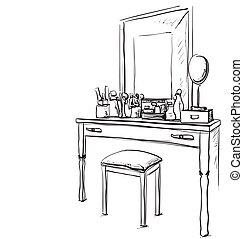 Tisch gezeichnet  Vektoren von satz, -, hand, tisch, gezeichnet, stuhl - The ...