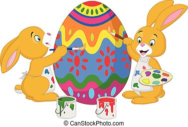 Cartoon rabbit painting an Easter egg