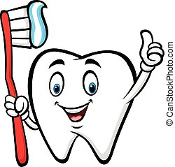 Cartoon tooth holding tooth brush and giving thumb up