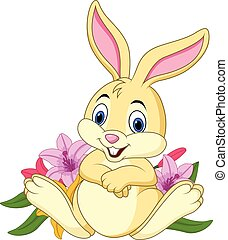 Cartoon funny rabbit sitting