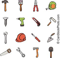 Building icons set cartoon - Building icons set in cartoon...