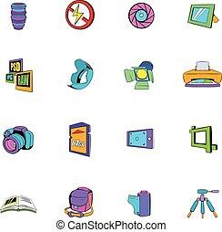 Photography set icons set cartoon - Photography set icons...