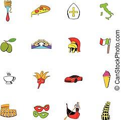 Italy set icons set cartoon - Italy set icons set in cartoon...