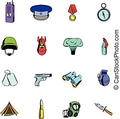 Military and war icons set cartoon - Military and war icons...