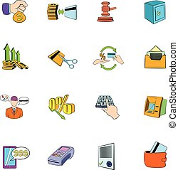 Bank icons set cartoon