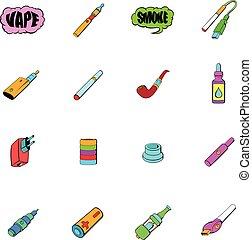 E-cigarettes icons set cartoon - E-cigarettes icons set in...