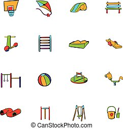 Park playground icons set cartoon - Park playground icons...