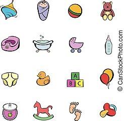 Baby comics icon set