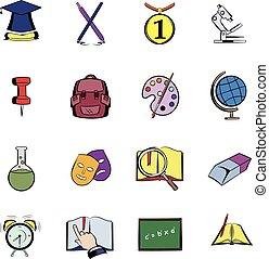 Education comics icons set cartoon