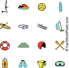 Water Sport icons set cartoon