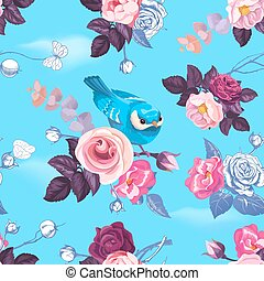 Gorgeous seamless pattern with half-colored wild roses and...