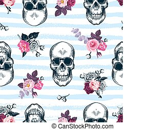 Seamless pattern with human skulls and semi-colored bunches of roses in etching style and blue horizontal paint traces on background. Modern backdrop. Vector illustration for wallpaper, textile print.