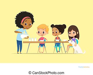 Smiling multiracial children sit at table and have breakfast while mother pour milk into gasses. Kids eating healthy morning meal. Daily family activity concept. Vector illustration for flyer, poster.