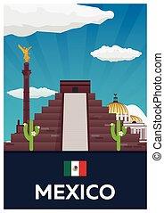 Poster Travel to Mexico. America. Chichen Itza. Vector...