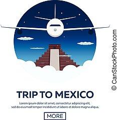 Travel to Mexico. America. Chichen Itza. Vector...