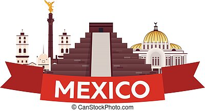Travel to Mexico. America. Chichen Itza. Vector...