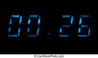 Digital countdown timer with an interval 30 seconds 00:30 - 00:00 digits blue