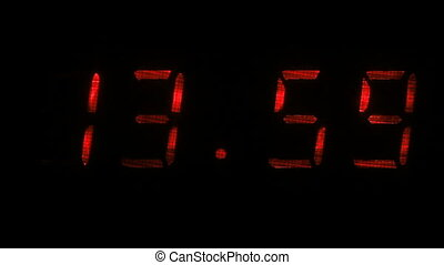 Digital clock shows the time of 13 hours 59 minutes to 14...