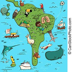 Illustrated Map of South America. With funny and typical...