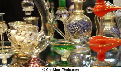 Sharm el-Sheikh, Egypt - November 29, 2016: Aromatic oil and perfume in Arabic Shop