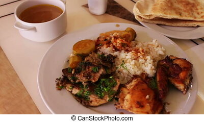 Rice with meat vegetables National Asian and Arabic cuisine...