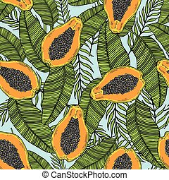 Pattern of cut papaya with tropical leaves. On a blue...