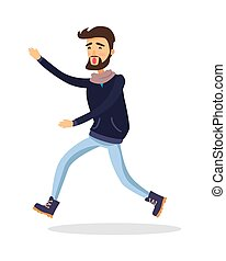 Young Man Running Somewhere Isolated on White. - Young man...