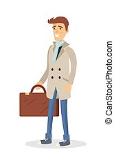 Man in Coat with Brown Suitcase Isolated on White