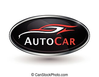 Abstract vehicle logo of chrome badge with sports car silhouette