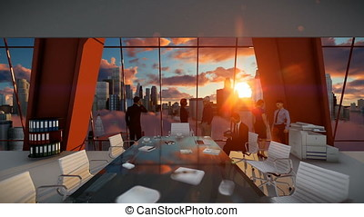 Business People Team, Rear View Cityscape at Sunset