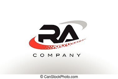 RA Modern Letter Logo Design with Red Dotted Swoosh - RA...