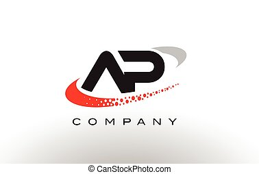 AP Modern Letter Logo Design with Red Dotted Swoosh - AP...