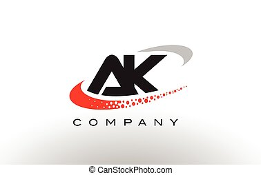 AK Modern Letter Logo Design with Red Dotted Swoosh - AK...