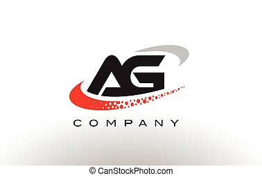 AG Modern Letter Logo Design with Red Dotted Swoosh - AG...